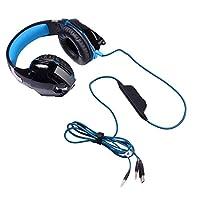 3.5mm有線ヘッドセット、大きなイヤーマフス50MM直径スピーカーデスクトップコンピュータゲームミュージックサブウーファーマイクヘッドフォン (色 : Black blue, 設計 : Two-in-one wiring)