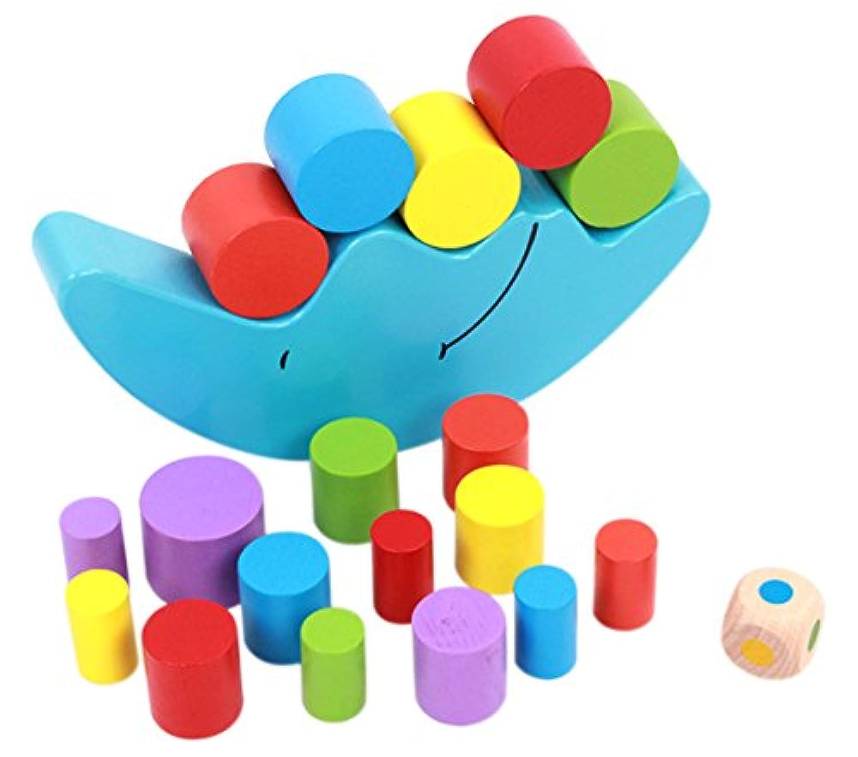 naovio Kids木製バランスおもちゃCartoon Moon Stacking円柱ブロックセットバランシングゲーム教育玩具