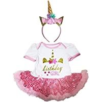 [キッズコーナー] Unicon Birthday ユニコーン 誕生日 ホワイト ボディスーツ ピンクのスパンコール 子供のチュチ、コスチューム、子供のチュチュ、ベビー服、女の子のワンピースドレス Nb-18m (ホワイト, Small) [並行輸入品]
