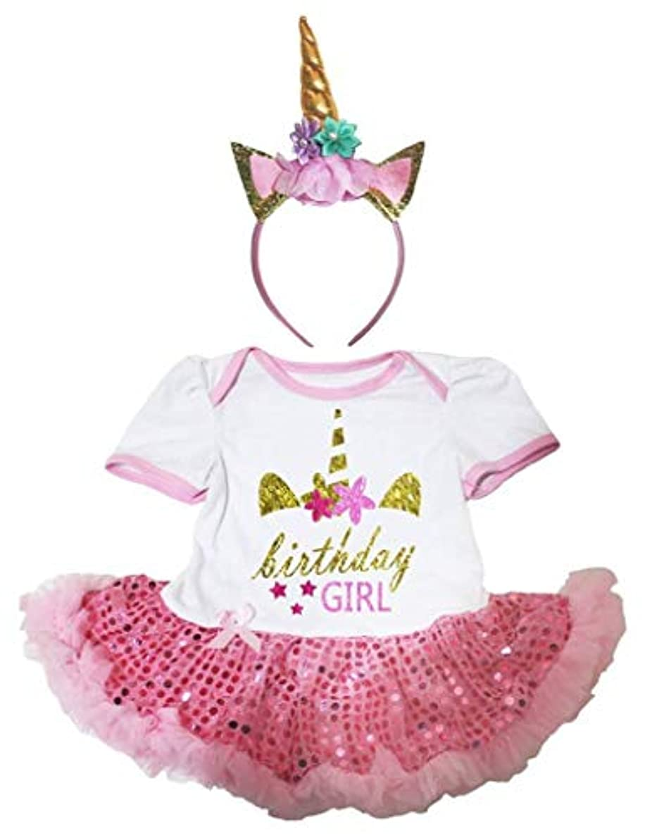 ハブ不適当[キッズコーナー] Unicon Birthday ユニコーン 誕生日 ホワイト ボディスーツ ピンクのスパンコール 子供のチュチ、コスチューム、子供のチュチュ、ベビー服、女の子のワンピースドレス Nb-18m (ホワイト, Medium) [並行輸入品]