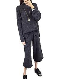 バイシン(BAISHUN)レディース 長袖 モックネック ニット セーター 2ピース ガウチョパンツ ニット パンツ セットアップ