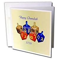Chanukah for Special People - Happy Chanukah Daughter and Family Dreidels On Gold - グリーティングカード Individual Greeting Card