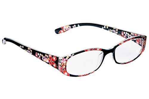 シニアグラス 老眼鏡 軽量 雅 花 柄 ブラック 黒 ソフトケース (2.5)