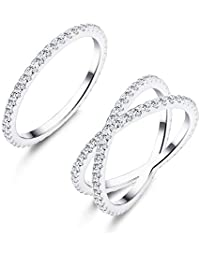 Udalyn 2 Pcs Silver Stacking Rings Women Girls X Criss Cross Ring Eternity Bands Engagement Rings