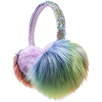 Fuzzy Sequin Earmuffs Girls Kids Womens Winter Warm Soft Plush Fluffy Ear Warmer Ear Muffs