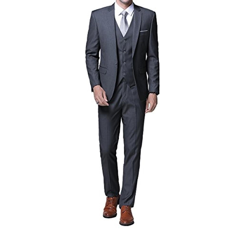 FOMANSH スーツ メンズ スリーピーススーツ スリム 無地 スタイリッシュスーツ 上下 ベスト付きセット