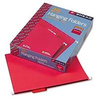 Smead Hangingファイルフォルダ、1/5タブ、11点ストック、文字、赤、25/ボックス