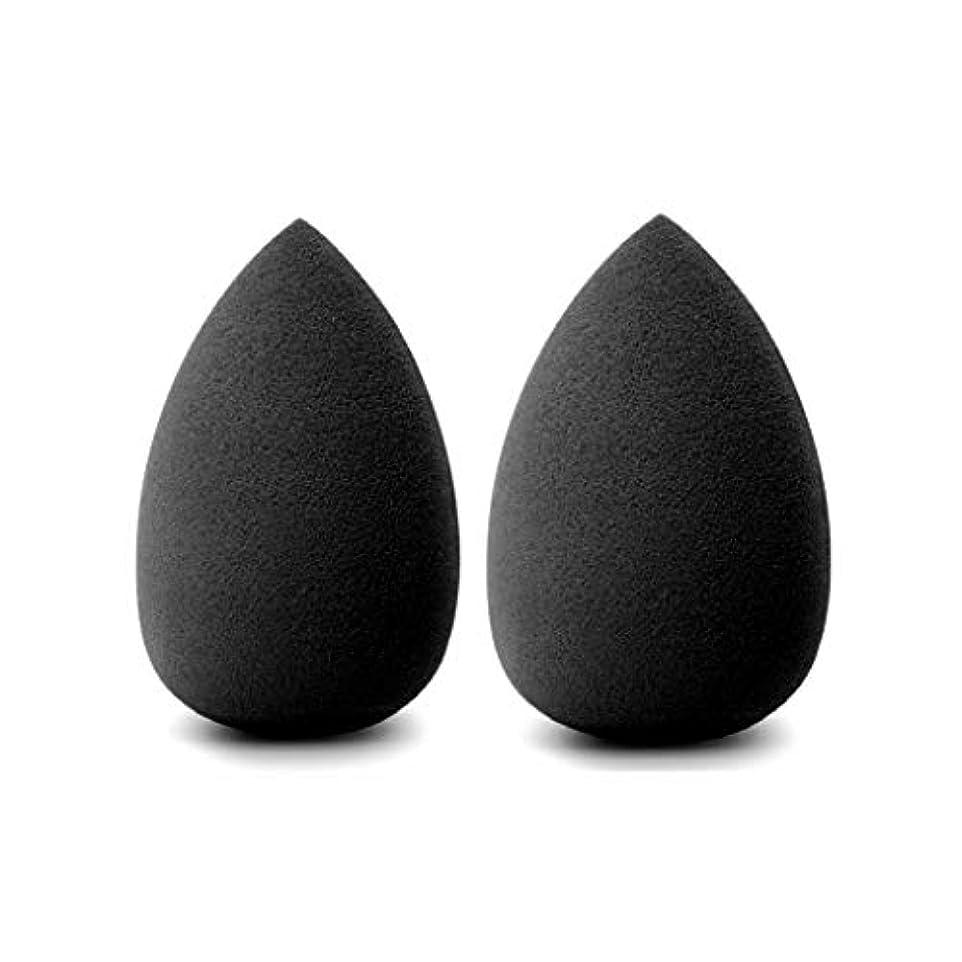 クルークレーター拡散するBeautypapa 2個入黒化粧スポンジ メイク用スポンジパフ メイクスポンジ テックスフリー 乾湿兼用