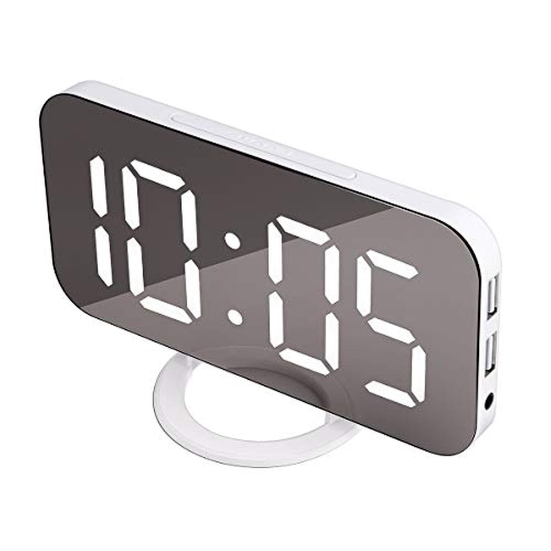 ACTOPP 目覚まし時計 デジタル 置き時計 LED ミラー表面 アラーム クロック 大きい文字 USB電源式 三段輝度調節 USB充電ポート 鏡 卓上 掛け時計 オシャレ インテリア プレゼント 日本語取説付き ホワイト