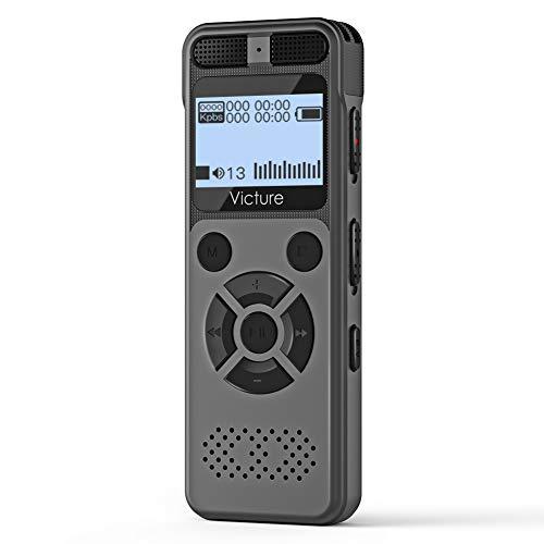 Victure ボイスレコーダー 高音質 ICレコーダー 8GB内蔵メモリー 長時間連続録音 64GB拡張メモリー 内蔵スピーカー 小型軽量 操作簡単 MP3プレイヤー 日本語説明書付き