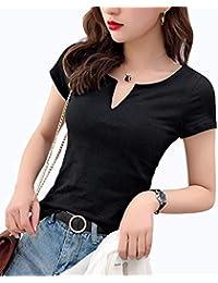 LINGEW レディース Vネック 半袖 トップス カジュアル シンプル コットン Tシャツ カットソー