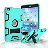 FidgetGear High Impact Shockproof Silicone Hard PC Hybrid Stand Armor Case Shell For iPad Mint Green/Black For iPad mini 1 / 2 / 3 No included