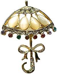 OULII 女性のジュエリー ブローチピン スーツブローチピン パーティー ビジネス用 エレガントな女性の真珠のブローチ(傘)