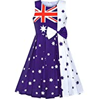 Sunny Fashion Girls Dress Australia National Flag National Day Color Contrast Size 4-14 Years