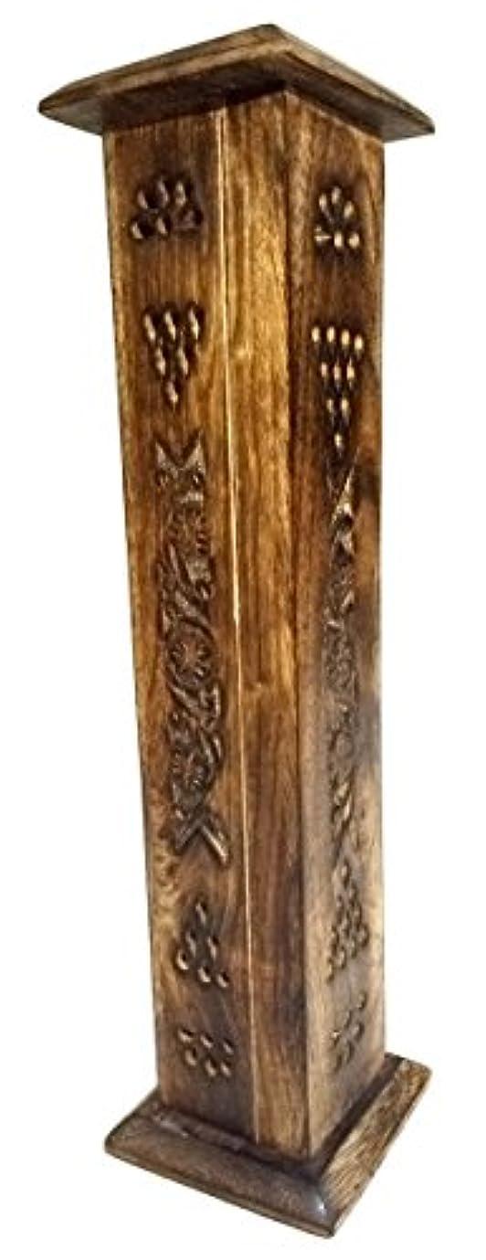 テキスト丈夫鉄Babli 木製お香立て 12インチ 木製お香入れ/お香立て/お香立てスタンド 複雑なフローラル彫刻