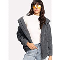 INFASHION Women's Grey Casual Zip Up Solid Teddy Jacket with Pocket