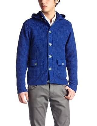 5 Gauge Linen Cotton Hooded Mock Cardigan 116-40-0020: Blue