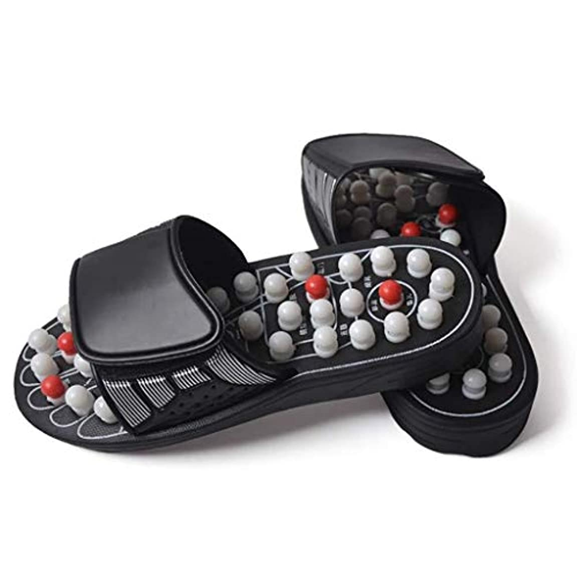 ストライプ今晩生産的フットマッサージの靴、フットマッサージ、鍼灸磁気マッサージスリッパ、サンダル春、ユニセックス (Color : 白, Size : 40)
