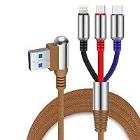 充電ケーブル、直角90度3 in 1 USBケーブル、ほとんどのスマートフォンと互換性のあるタイプCマイクロUSBポート付き急速充電充電器コード,brown