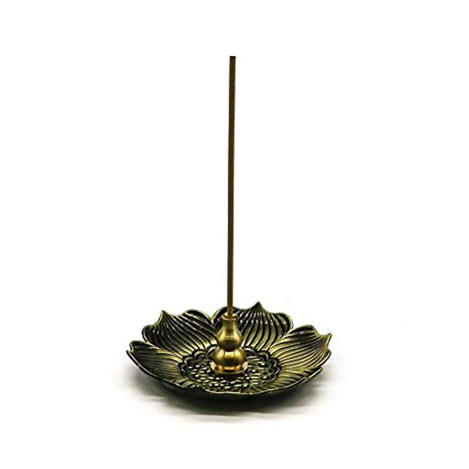 傾斜間欠謝罪するomonicブロンズLotus Dish Stick Incense Burnerホルダー(スティック/コーン/コイルIncense )アロマセラピー炉Diffuser forホームインテリア