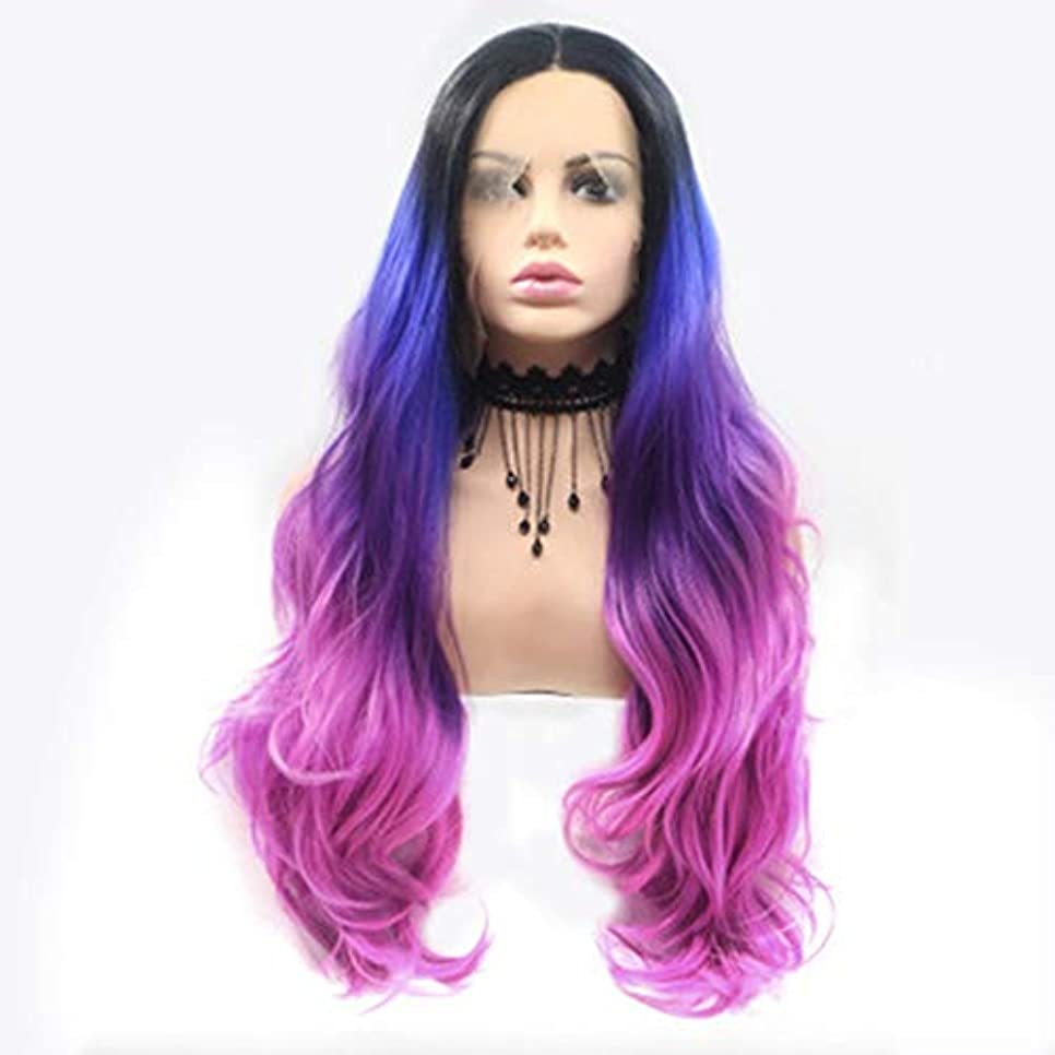 磁器肺略語ヘアピース 女性のためのかつらヨーロッパとアメリカの多色混合色長い巻き毛手織りフロントレース化学繊維かつら