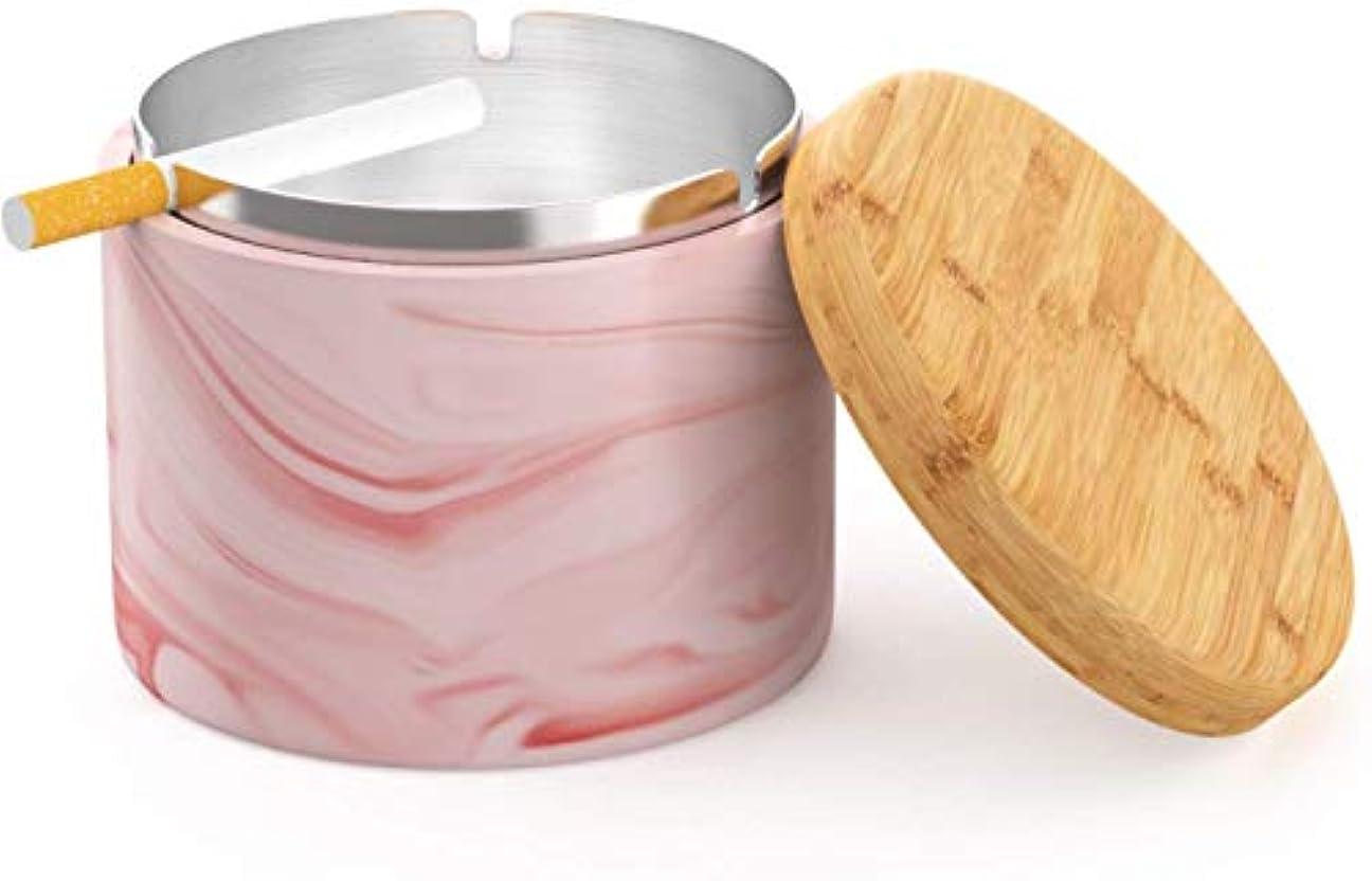 熱望するインカ帝国願うタバコのための蓋防風Homeまたは屋外の灰皿を持つセラミック灰皿(ピンク)