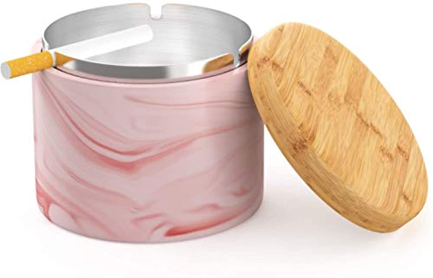 現実的凝視制約タバコのための蓋防風Homeまたは屋外の灰皿を持つセラミック灰皿(ピンク)