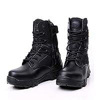 ANGELCITY メンズ 本革 軍用靴 タクティカルブーツ 砂漠靴 ハイカット コンバットブーツ ミリタリーブーツ アウトドア ハイキング ジャングルブーツ サイドジッパー 通気性 防水 防滑 耐磨耗 A143 (25.5cm, ブラック)