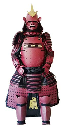 手作り甲冑 兜 等身大鎧 具足 成人用 ウェアラブルな日本の武装鎧 鉄スーツヘルメットマスク赤 O010