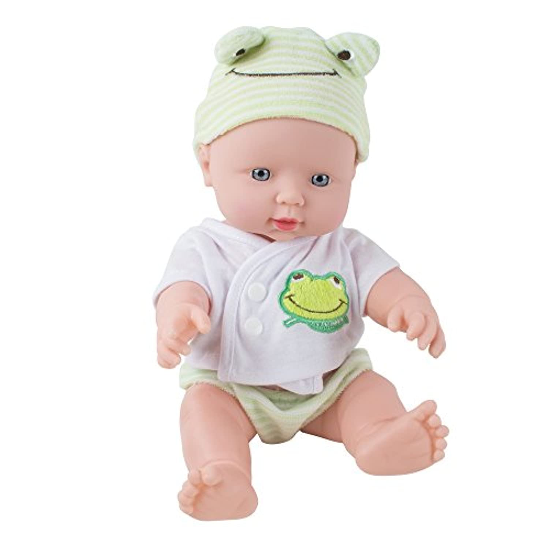 Genmine 赤ちゃん 人形 ベビー 人形 シリコン キッズ 生き生きとした 30cm 新生児の笑い 泣き 呼び 男の子 女の子 誕生日 ギフト プレゼント (グリーン)