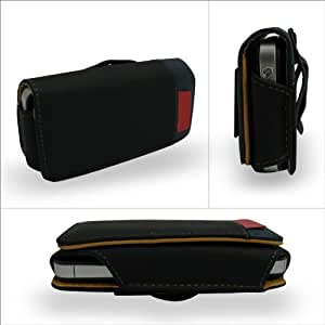 iPhone 4 ケース レザー 腰に取り付け可能  ブラック (115-1)Leather Case for iPhone 4 液晶保護フィルム  USB充電ケーブル付