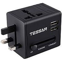 海外旅行充電器 変換プラグ A・O・BF・Cタイプ コンセント マルチ電源プラグ TESSAN 2USBポート付 USB充電器 ヨーロッパ/アメリカ/イギリス/オーストラリア等世界中150ケ以上の国に対応
