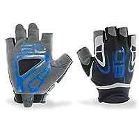 YJiaJu ランニングハイキングエクササイズサイクリングヨガグローブ(ペア)、ジムボディビルディングトレーニングスポーツフィットネスウェイトリフティンググローブ、男性用女性 (Color : Blue, Size : L)