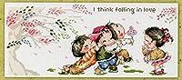 クロスステッチ 刺繍キット 141/花を贈る 14CT 白 50x27cm [並行輸入品]