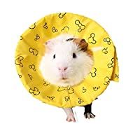 Lightton エリザベスカラー 小動物 布製 軽量 傷舐め防止 引っ掻き防止 傷口保護 手術後のケア 柔らかい 軽量 イエロー Sサイズ