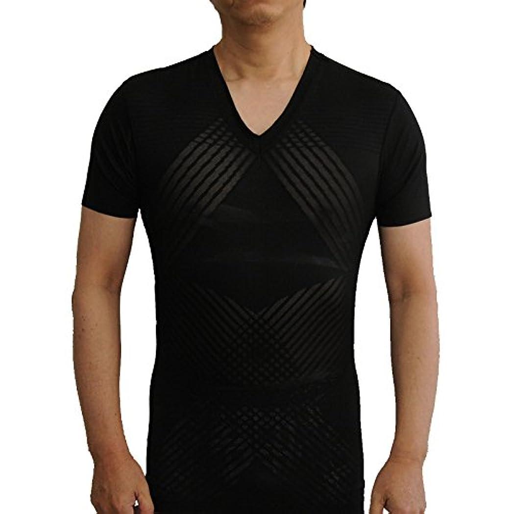 レーザ有限牛猫背矯正 インナー 加圧式インナー 機能性tシャツ 加圧シャツ ハイパワー特許編み560デニール (M)