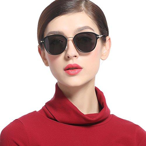 CHB サングラス レディース 偏光レンズ ミラー UVカット 紫外線カット 日焼け対策 レトロ おしゃれ メガネ拭き ケース付き グレー