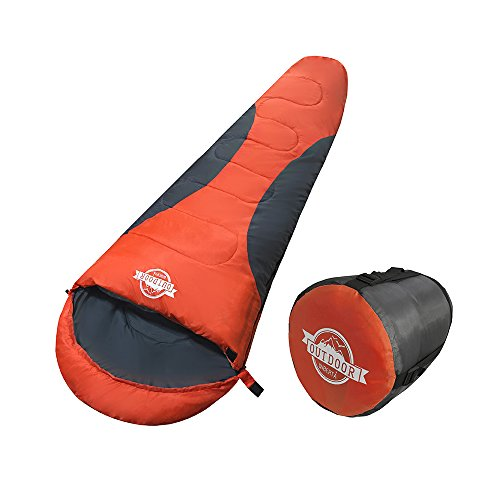 WIBERTA(ウィベルタ) 寝袋 シュラフ コンパクト スリーピングバッグ 軽量 マミー型 丸洗い可能 収納袋付き 最低使用温度-5度 オレンジ