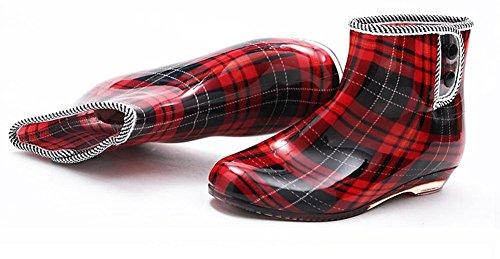 (チェリーレッド) CherryRed レディース レインブーツ レインシューズ おしゃれ 長靴 チェック 美脚 梅雨 雨の日 履き心地のよい 38