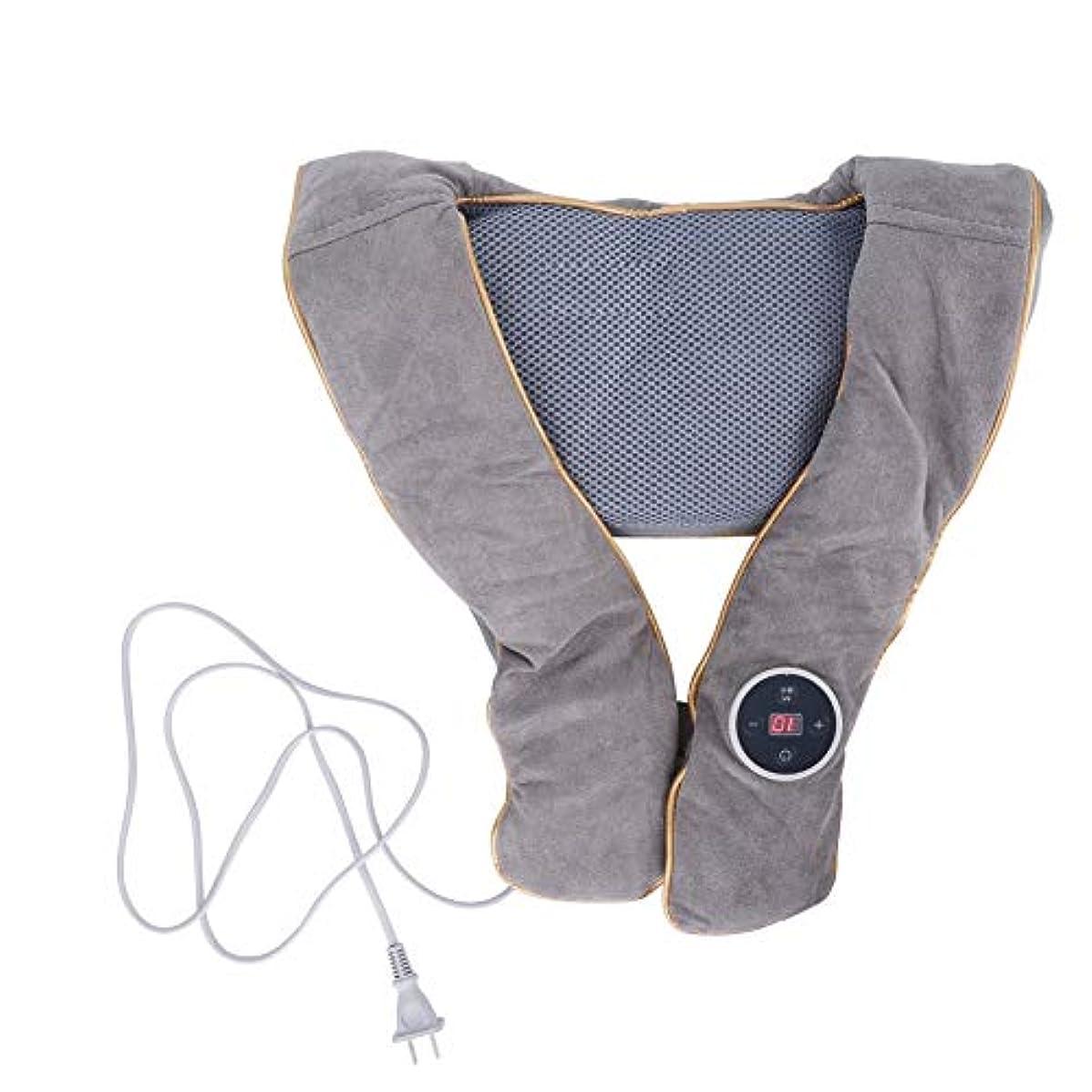 満足できるブラケット混雑首肩マッサージャー枕ショール、加熱指圧バックマッサージ機ディープニーディングティッシュマッサージ用筋肉痛テンションケア