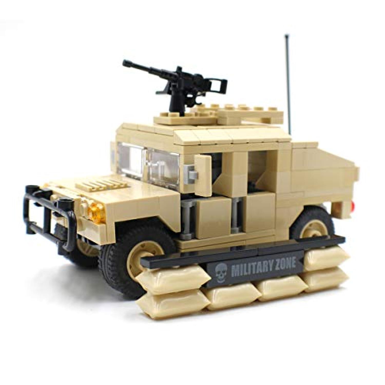 軍事ハンビー移動車、模型軍兵士と機関銃