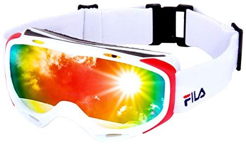 FILA(フィラ) スノーボード ゴーグル 眼鏡対応 曇り止め ダブルレンズ UVカット99.9% Revo ミラーレンズ 全8色 メンズ レディース FG7101J WH/RD/S メガネ対応 スキーゴーグル スキー スノー用ゴーグル スノーゴーグル ス