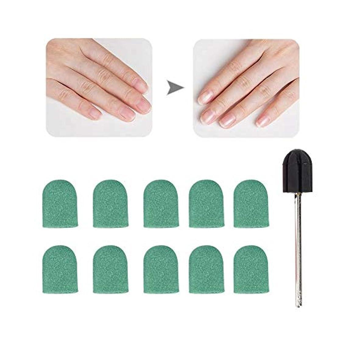 放置証書人柄ネイルドリルブロックキャップ、ネイルアートサンディングバンド、1 xグリップ付き10 x 15mm、ネイルサロンまたは個人使用のネイル研磨およびトリミング用のネイルポリッシュ研磨ヘッド(5)