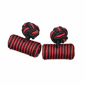 カフスボタン ゴムカフス シリンダー 黒&赤 CF-GUMCYLINDER-S50