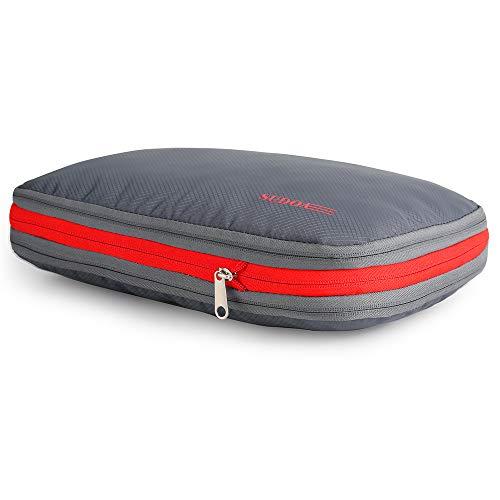 SUDOA トラベルポーチ 圧縮袋 旅行 収納ケース ファスナー圧縮で衣類スペース50%節約 軽量 出張 便利 (グレー)
