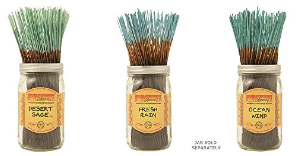 ピカリングロッククリアWildberry Incense Sticks Best Sellerのセット3 Scents – 砂漠セージフレッシュ、雨、海洋風( 100各パック、合計300 Sticks )