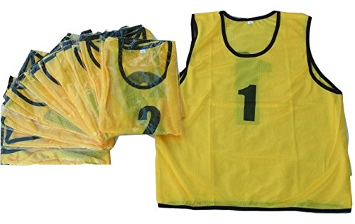 ビブス1番~12番 サッカーフットサルベスト ネオンカラー 黄色