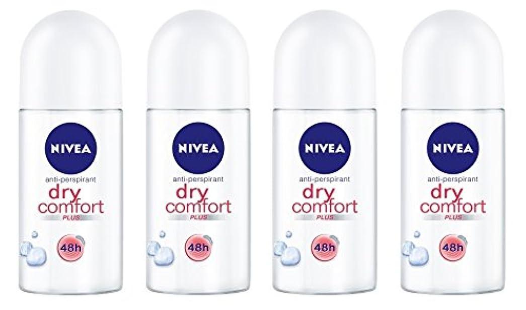フォージハンサム厳しい(Pack of 4) Nivea Dry Comfort Plus Anti-perspirant Deodorant Roll On for Women 4x50ml - (4パック) ニベアドライ快適プラス制汗剤デオドラントロールオン女性のための4x50ml