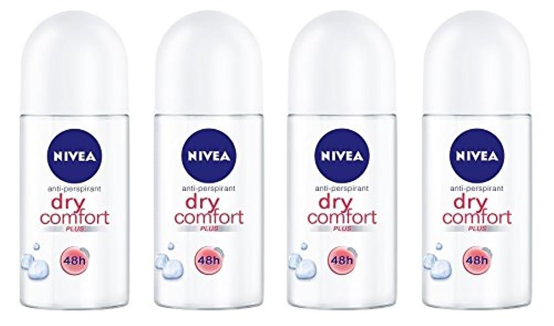 ソフトウェア涙が出る類似性(Pack of 4) Nivea Dry Comfort Plus Anti-perspirant Deodorant Roll On for Women 4x50ml - (4パック) ニベアドライ快適プラス制汗剤デオドラントロールオン女性のための4x50ml