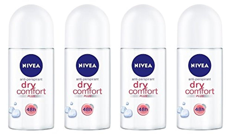 本を読むメリー従事する(Pack of 4) Nivea Dry Comfort Plus Anti-perspirant Deodorant Roll On for Women 4x50ml - (4パック) ニベアドライ快適プラス制汗剤デオドラントロールオン...